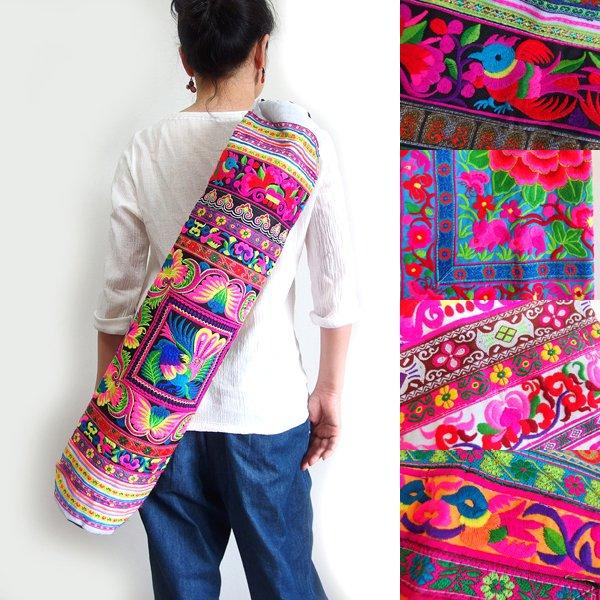 モン族 刺繍ヨガマットバッグ