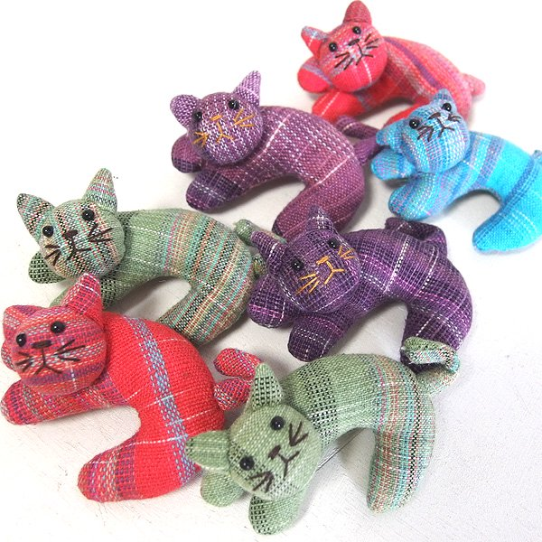 手織りコットンの猫ブローチ 7種