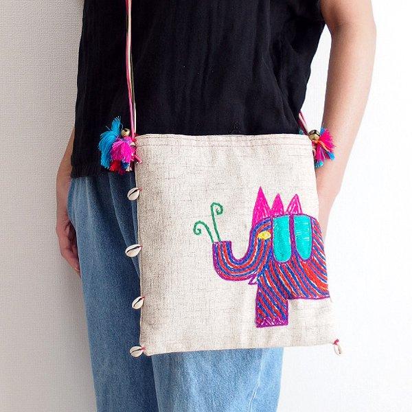 手織りコットンヘンプ手刺繍ショルダーバッグ 03B