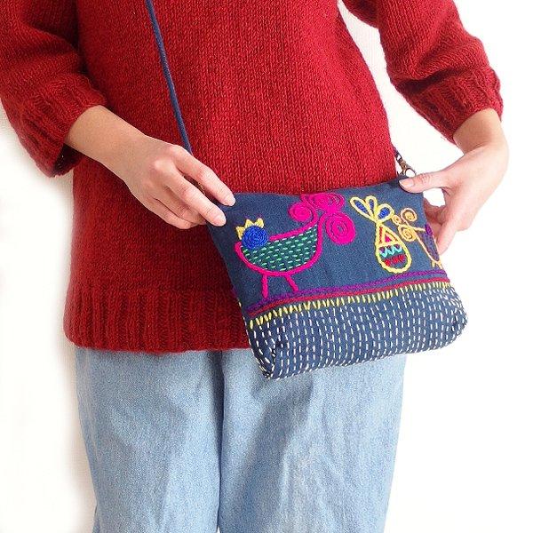 藍染め布手刺繍2wayショルダーバッグ 02