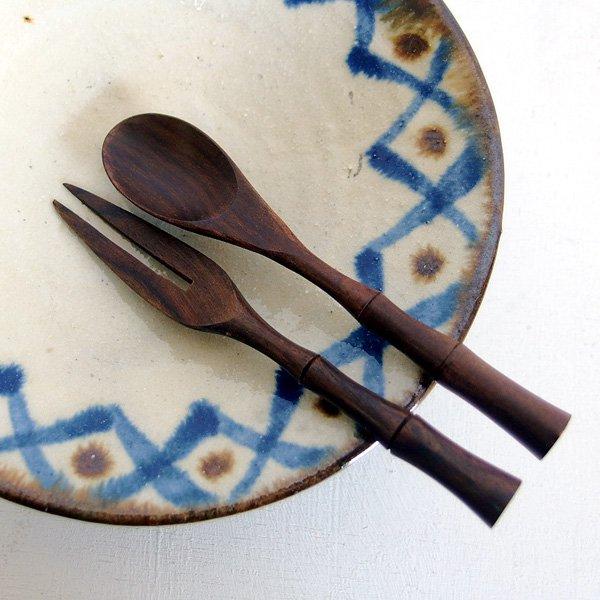 木製スプーン&フォークセット バンブー