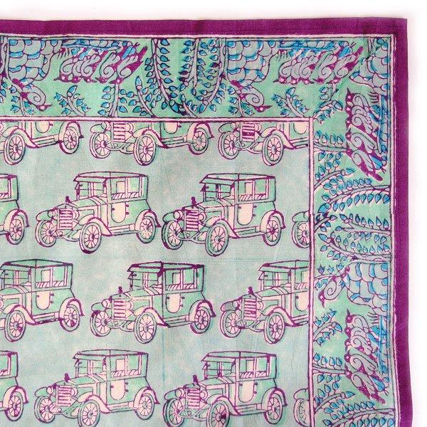 インド ブロックプリント バンダナ 06 クラシックカー