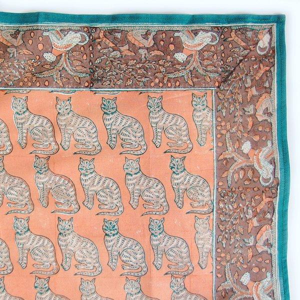 インド ブロックプリント バンダナ 08 猫