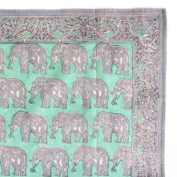 インド ブロックプリント バンダナ 11 ゾウ