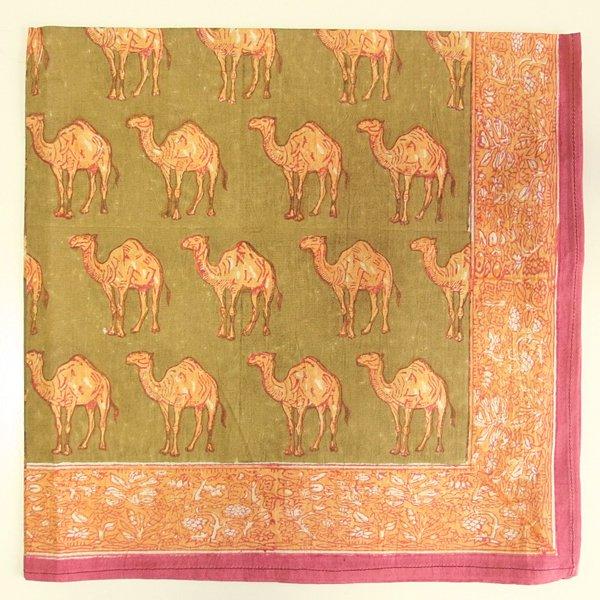 インド ブロックプリント バンダナ 18 ラクダ