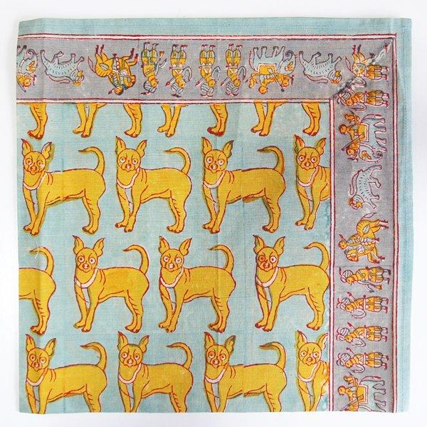 インド ブロックプリント バンダナ 19 犬