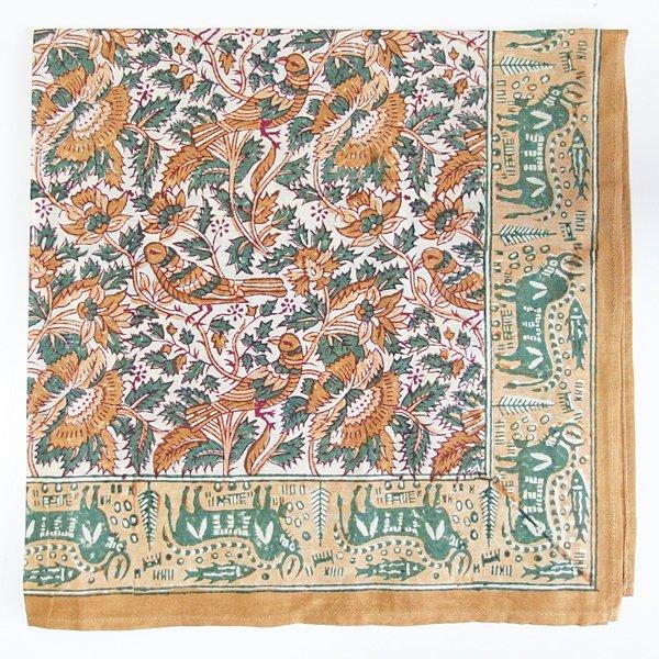 インド ブロックプリント バンダナ 36 鳥と花