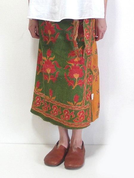 カンタ刺繍 リバーシブルラップスカート 20