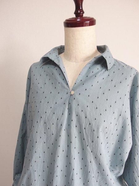 スキッパーカラードットシャツ ブルー