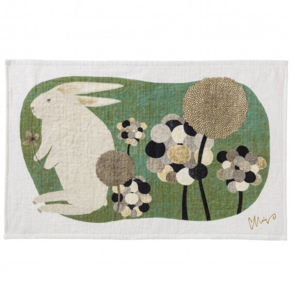 morita MiW ティータオル 草叢で  ウサギ
