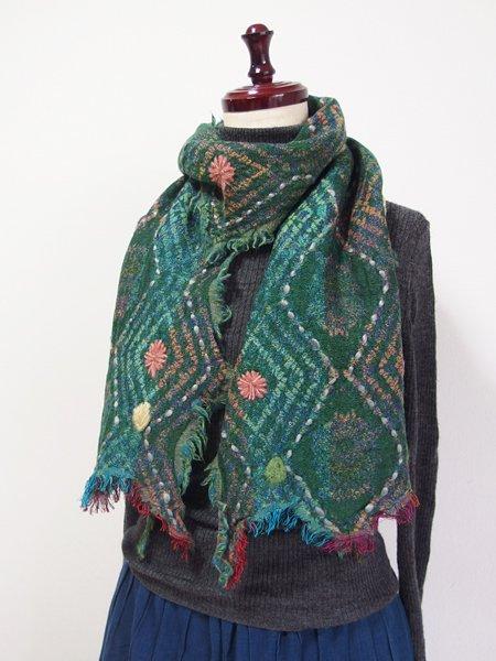 ウールコットンダイヤ柄刺繍ショール 47 グリーン