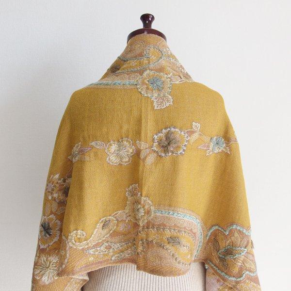 ウールコットン ペイズリー花刺繍ショール 52 マスタード