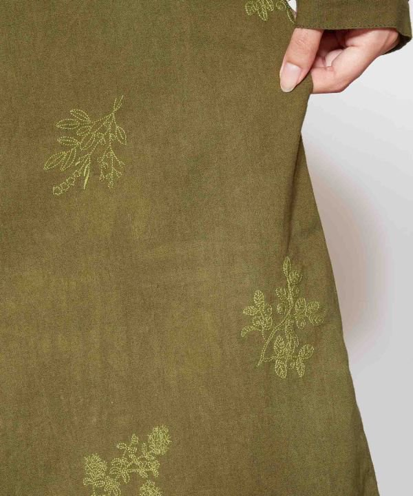 シャツワンピース 2way ボタニカル刺繍