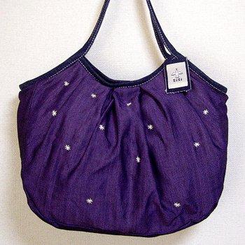 sisiグラニーバッグ 120%ビッグサイズ 刺繍 パープル12aw