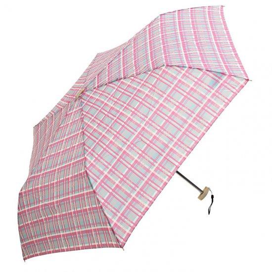 【waterfront】【晴雨兼用傘】折りたたみ傘 軽量 ポケフラット55 タータンチェック柄 ウォーターフロント シューズセレクション
