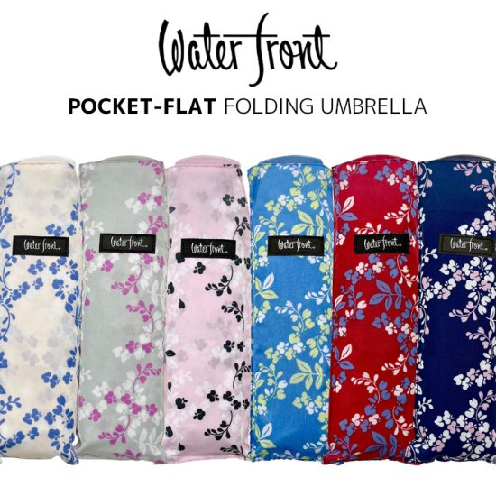 ウォーターフロント Waterfront 折りたたみ傘 軽量 レディース ポケフラット ウィステリア カラー手元 薄型 日傘 晴雨兼用傘