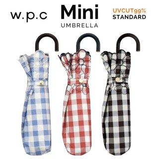 Wpc 日傘 遮光遮熱傘 折りたたみ傘 晴雨兼用傘 遮光ギンガムチェックフラワー刺繍  mini w.p.c ワールドパーティー