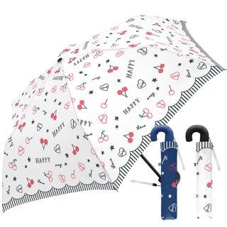 折りたたみ傘 かわいい子供用 女の子 軽量 チェリーラブ 子供用記念品 クラックス