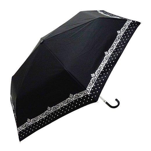 日傘 折りたたみ傘 裏シルバー バラドット 曲がり手元 遮光遮熱傘 晴雨兼用傘