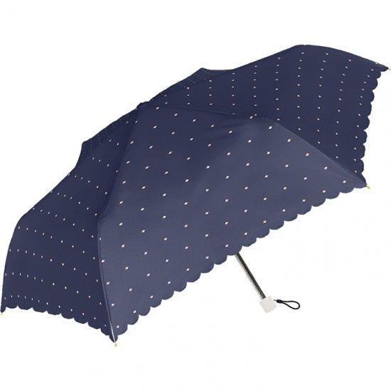 レディース折りたたみ傘 スクエアドットスリム UV加工 耐風仕様
