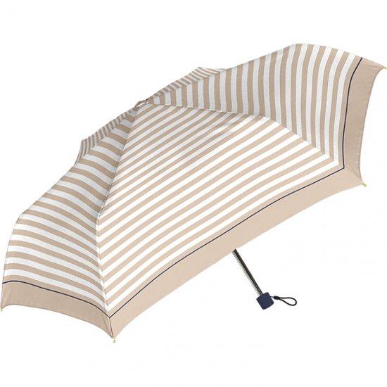 レディース折りたたみ傘 ラインボーダースリム UV加工 耐風仕様