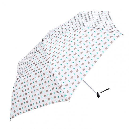 ウォーターフロント Waterfront 軽量 折りたたみ傘 レディース ポケフラット森のくま 薄型 日傘 晴雨兼用傘