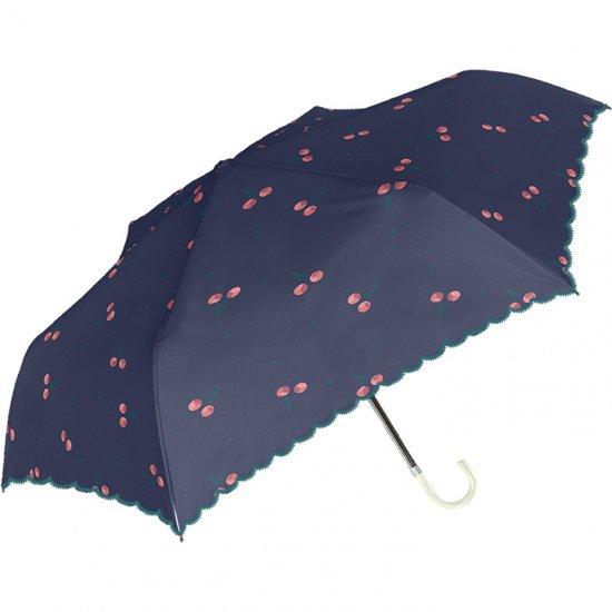 日傘 折りたたみ傘 裏ブラックコーティング チェリー 遮光遮熱傘 晴雨兼用傘