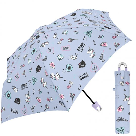 折りたたみ傘 かわいい子供用 男の子 軽量 キッズカラナビ付き手元 ピンクスタイル 子供用記念品 クラックス
