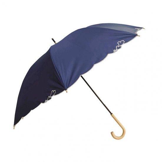 ウォーターフロント Waterfront 日傘 遮光遮熱傘 レディース傘 刺繍ハートパラソルlong ショート丈 晴雨兼用UVカット99.99%傘 ウォーターフロント