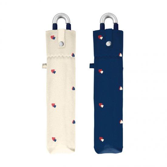 折りたたみ傘 ハートドロップ カラビナ付き手元折傘