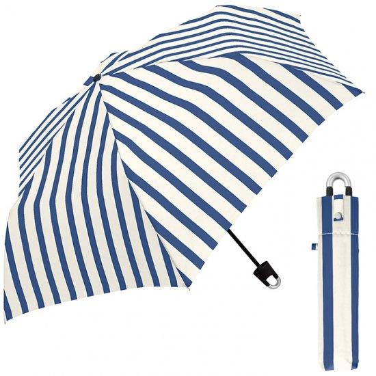 折りたたみ傘 ストライプ カラビナ付き手元折傘