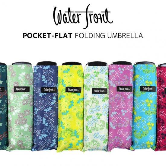 ウォーターフロント Waterfront 軽量 折りたたみ傘 レディース ポケフラット和柄UV アジサイ 薄型 日傘 晴雨兼用傘