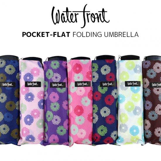 ウォーターフロント Waterfront 軽量 折りたたみ傘 レディース ポケフラット和柄UV キク 薄型 日傘 晴雨兼用傘