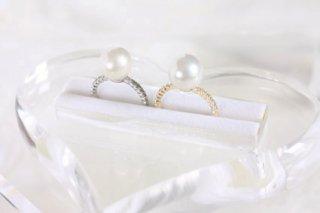 Big pearl CZ ring