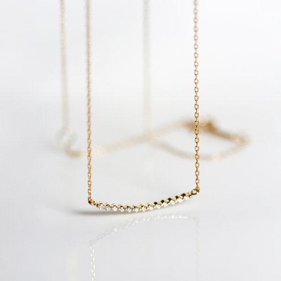Tiny Diamond Curved Bar Necklace | K10YG