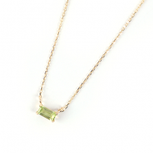 Peridot Baguette Cut Necklace | K10YG