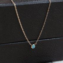 Tiny Round Opal Necklace | K10YG