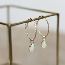Opal & Twisted Hoop Pierce | K10YG