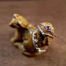 Rhodolite Garnet Hollow Ring | K10YG