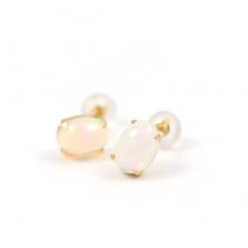 Cabochon Opal Stud Pierce | K18