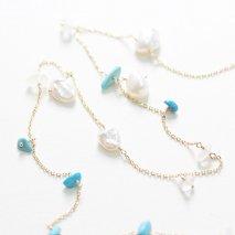 Turquoise & Pearl & Labradorite Long Necklace | K10YG