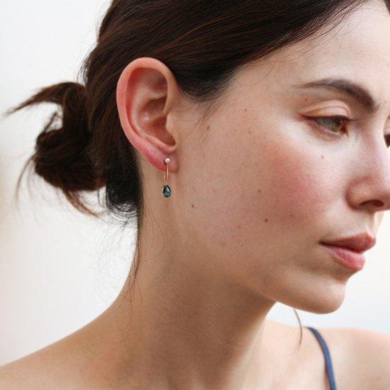 London Blue Topaz & Pearl Hoop Pierce | K10YG