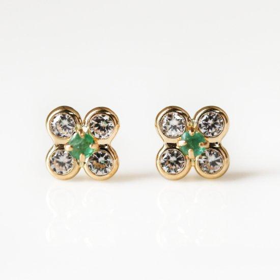 Emerald & CZ Flower Pierce | K18