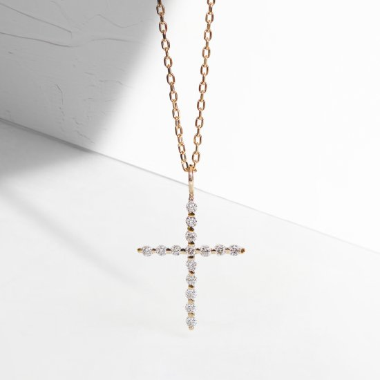 Diamond Cross Necklace | K10YG