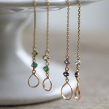 Teardrop & Color Stone Chain Pierce | K18