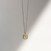 Square Flame Diamond Necklace 0.02ct | K10YG