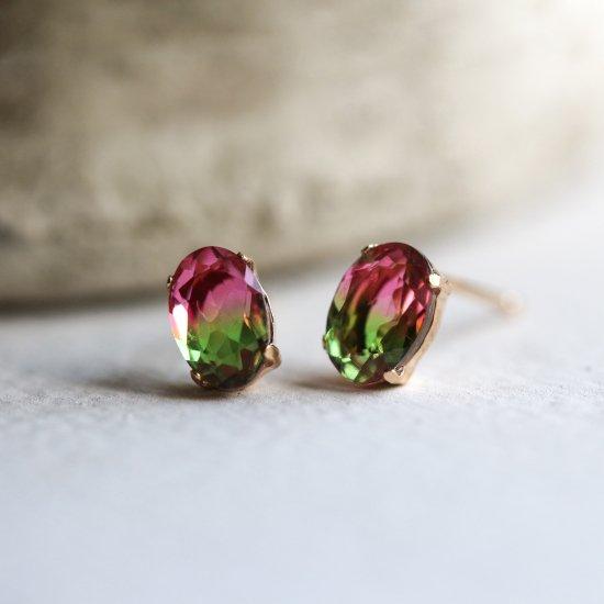 Gradation Crystal Oval Pierce | K10YG