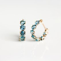 London Blue Topaz Hoop Pierce | K10YG