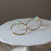 Opal Hoop Pierce | K10YG