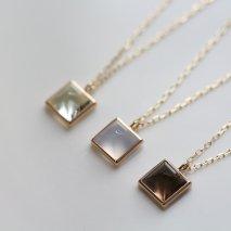 Square Color Stone Necklace | K10YG